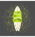 surfboard in dark cartoon graffiti design vector image
