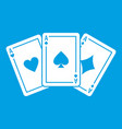 three aces playing cards icon white vector image vector image