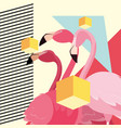 tropical flamingo design vector image vector image