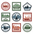 vintage locomotive stickers and stamps set vector image vector image