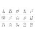 wedding and family hand drawn sketch icon set vector image vector image