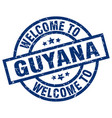 welcome to guyana blue stamp vector image vector image