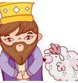 wise man king cartoon vector image
