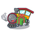 with gift train mascot cartoon style vector image