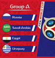 world cup 2018 group a team image vector image vector image
