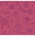 Abstract doodle floral seamless pattern in purple vector image