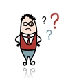 Businessman and question marks sketch for your vector image