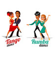 cartoon of a couples dancing tango and vector image