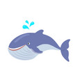 blue whale cartoon flat vector image