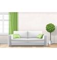 modern interior with sofa window green curtain vector image