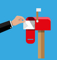 red opened mailbox with regular mail inside vector image