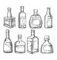 alcohol drink bottles sketch vodka whiskey rum vector image