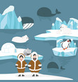 animals and people arctic cartoon background vector image vector image
