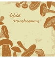 Background with different hand drawn mushrooms in vector image vector image