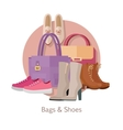 Bags Shoes Flat Design Concept vector image vector image