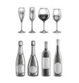 bottles and glasses with champagne and wine vector image