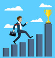 businessman running to the trophy vector image vector image