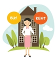 buy or rent house home apartment woman decide vector image vector image
