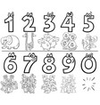 cartoon numbers set coloring book with animals vector image