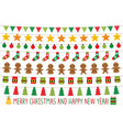 christmas lights and holiday banners set vector image