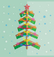 christmas tree white blue snow festive tree vector image