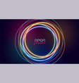 circular neon frame colorful lights vector image vector image