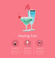 classic alcohol drinks advert poster blue cocktail vector image
