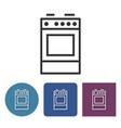 cooker line icon in different variants vector image vector image