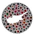 coronavirus stencils circle cyprus map mosaic vector image vector image