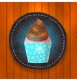 cupcake with chocolate cream vector image vector image