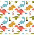 cute seamless pattern with cartoon dinosaurs vector image
