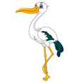 cute stork cartoon posing vector image vector image