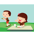 Cute student girl greet friend vector image vector image