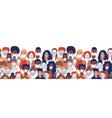 diverse crowd group people wearing medical masks vector image