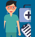 doctor in glasses with kit first aid and clipboard vector image vector image