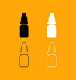 eye drops set black and white icon vector image vector image