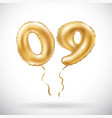 golden number 0 9 zero nine metallic balloon vector image vector image