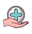 hand with cross medicine symbol to help the people vector image vector image