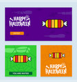 happy halloween invitation design with candy vector image