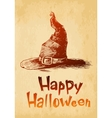 Happy Halloween witsh hat drawn in a sketch style vector image