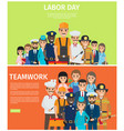 labor day and teamwork flat web banners vector image vector image