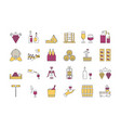 linear color icon set 4 - wine production vector image vector image