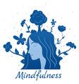 mindfullness meditation woman meditate mental vector image vector image