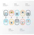 music icons colored line set with cinema photo vector image vector image
