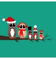 Owls family on the branch vector image vector image