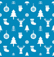 pattern with white christmas elements on blue vector image