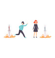 people lighting fireworks set happy man and woman vector image