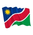 political waving flag of namibia vector image vector image