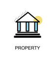 property icon and building on white background vector image vector image