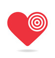 red and white heart target stock icon love aim vector image vector image